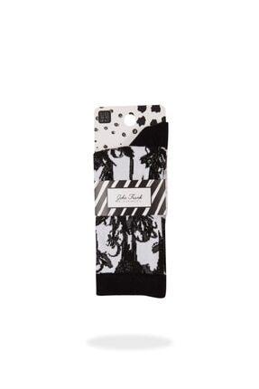 JOHN FRANK Women Black&whıte Uzun Çorap Multıcolor
