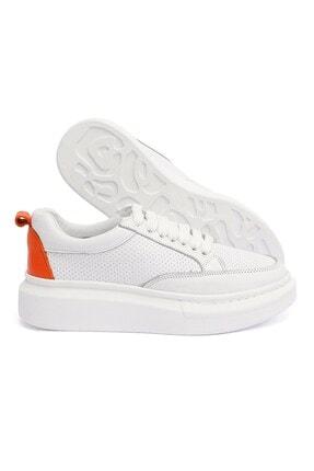 Letoon 2001 Kadın Günlük Deri Ayakkabı - Beyaz-turuncu