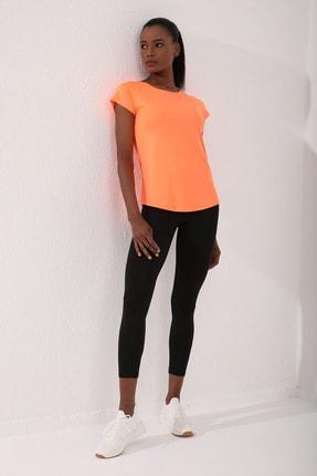 TOMMY LIFE Neon Oranj Kadın Sırt Pencereli Kısa Kol Standart Kalıp O Yaka T-shirt - 97101
