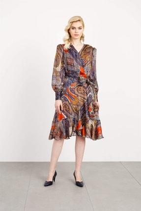 Moda İlgi Kadın Turuncu Volanlı Elbise