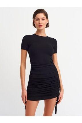 Dilvin 9092 Kadın Yanı Bağcıklı Elbise-siyah