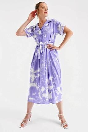 Bigdart 1994 Batik Desen Beli Kuşaklı Elbise