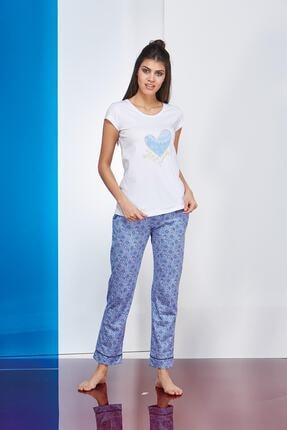 PJS PİJAMA Kadın Mavi Kısa Kollu  Pijama Takımı