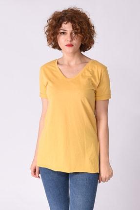 Samtoni V Yaka T-shirt Sarı