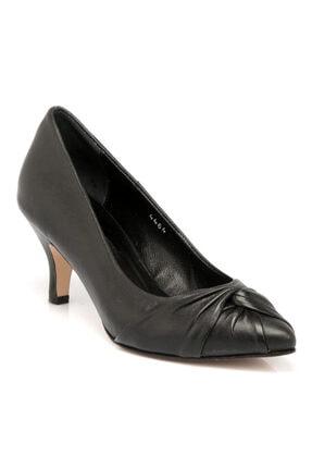 Tergan Siyah Deri Kadın Ayakkabı 64331a23