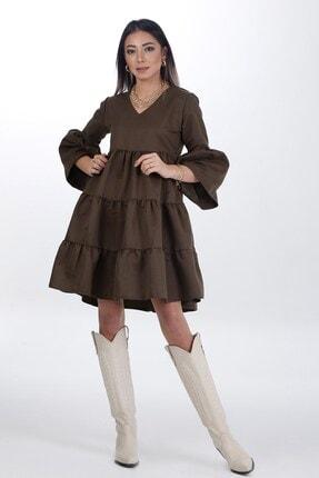Zindi Kadın Volanlı Elbise Haki