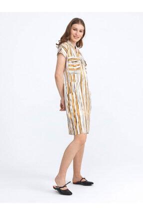 XINT Xınt Keten Rahat Kesim Desenli Elbise