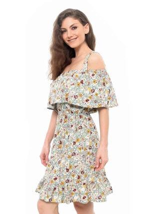 Cazador Cdr 1519 Askılı Çiçekli Elbise Yesıl