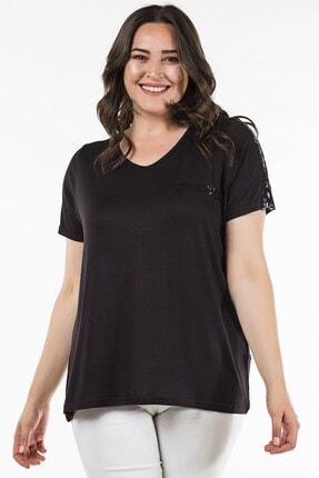 Womenice Büyük Beden Siyah Omuzu Yakası Pul Payet Bluz