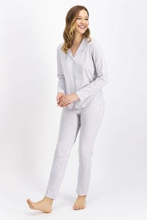 Arnetta Nil Düğmeli Kadın Gömlek Pijama Takımı