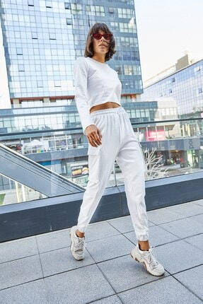 Boutiquen 5027-beyaz Beli Ve Paçası Lastikli Üç Cepli Pantolon