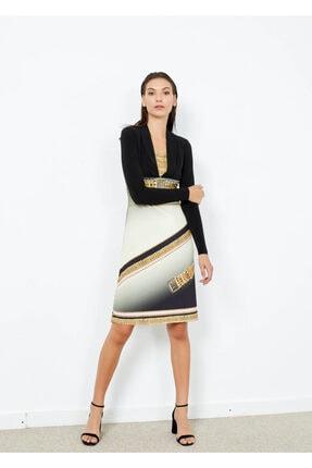 Cazador Kadın Siyah Şal Yaka Desenli Uzun Kol Elbise