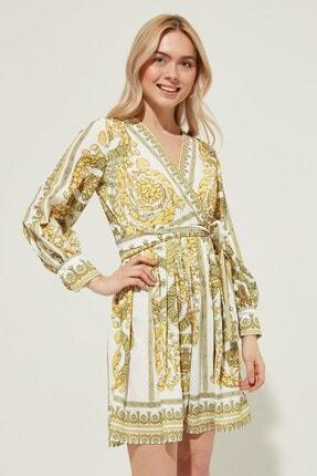 Zindi Kadın Desenli Kruvaze Yaka Elbise Sarı