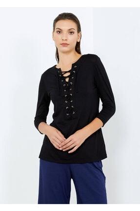 Cazador Kadın Siyah Yaka Ipli Tişört