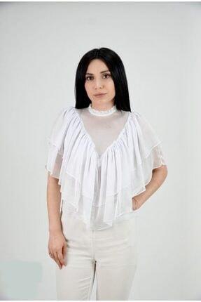 Lila Rose Kadın Beyaz Şifon Volanlı Bluz