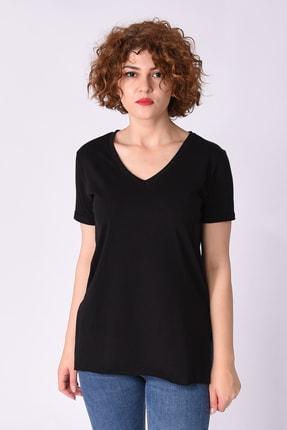 Samtoni V Yaka T-shirt Siyah