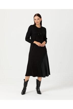Seçil Plise Detaylı Midi Boy Elbise - Siyah