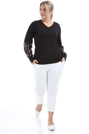 Big Free Kadın Bakır Yarım Pul Kol V Yaka Bluz