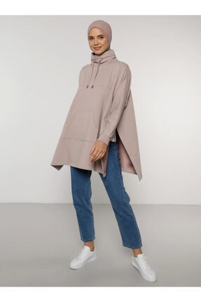 Everyday Basic Kadın Pembe Kanguru Cepli Sweatshirt 1686866