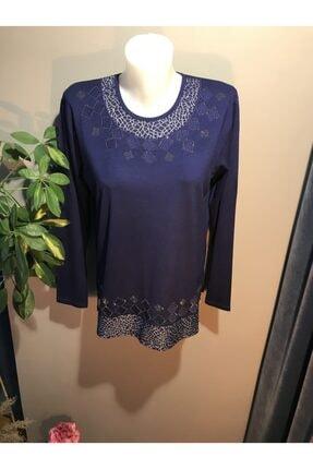 İnci Kadın Lacivert Camkırığı Garnili Bluz