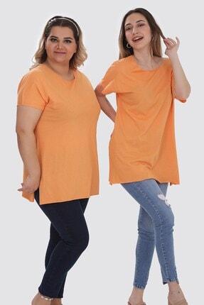 Zindi Kadın Bisiklet Yaka Yanları Yırtmaçlı Basic T-shirt Oranj