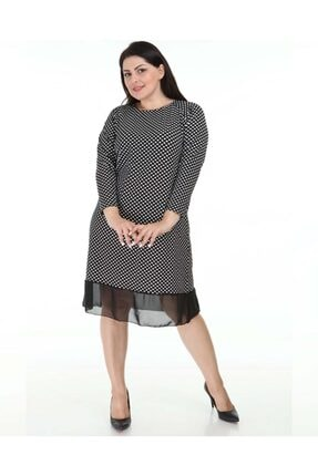 Big Free Kadın Etek Ucu Şifon Puantiyeli Elbise