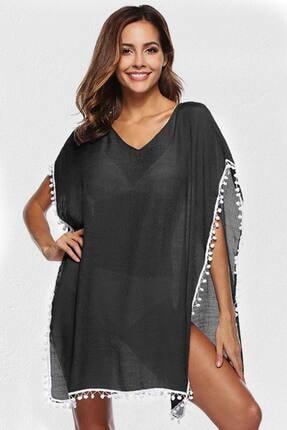 Mite Love Kadın Siyah Ponponlu Plaj Elbisesi Pareo