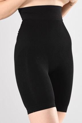 Miss Fit 1 Beden Küçülten Paçalı Çift Kat Beli Silikonlu Kadın Korse 1212 Siyah Örme Seamless Dikişsiz Soft