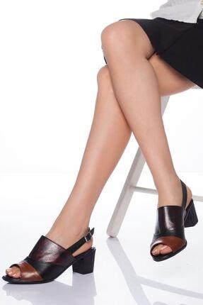 derithy Kadın Siyah Kahverengi Multi Hakiki Deri Sandalet