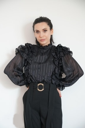 Lila Rose Kadın Siyah Çizgili Saten Bluz