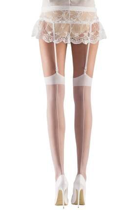 Mite Love Kadın Beyaz Gelin Jartiyer Çorabı