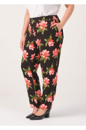 Cazador Kadın Siyah Çiçek Baskılı Salaş Pantolon