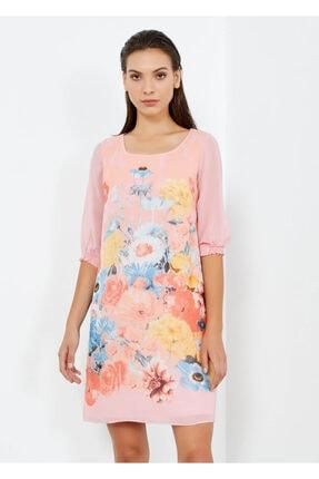 Cazador Kadın Pembe Çiçek Desenli Şifon Elbise