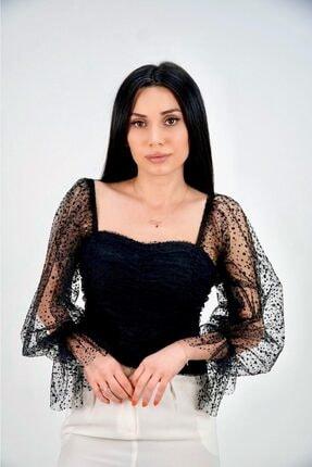 Lila Rose Kadın Siyah Flok Baskılı Hayal Tül Bluz