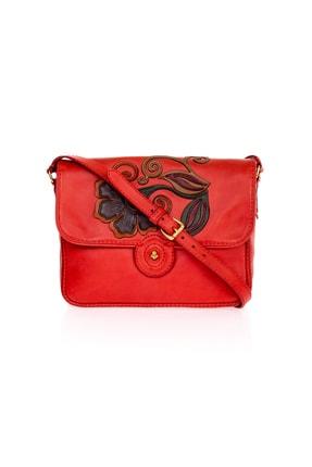 GÖN Gön Hakiki Deri Bayan Çapraz Askılı Çanta 151 Kırmızı