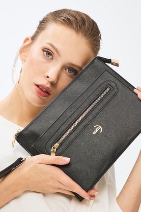 Deri Company Kadın Basic Clutch Çanta Düz Desen Logolu Siyah (4034s) 214031