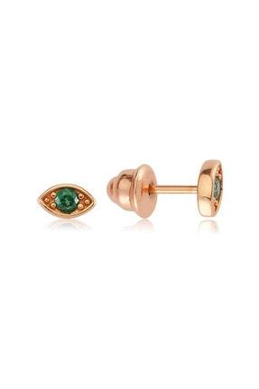 Valori Jewels Nokta Nazar Gözü, Swarovski Zirkon Yeşil Taşlı, Rose Gümüş Küpe