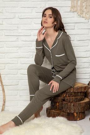 Elitol Düğmeli Uzun Kol Pamuklu Likralı Bayan Pijama Takım
