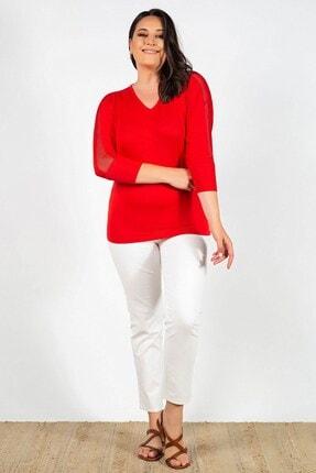 Womenice Büyük Beden Kırmızı Kolları Fileli Bluz