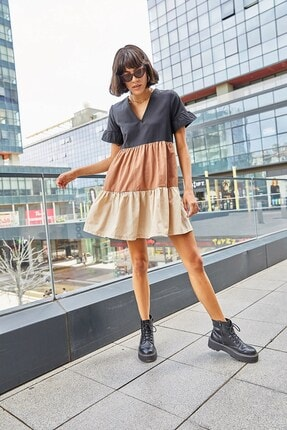 Boutiquen 2229-v Yaka Blok Renk Elbise