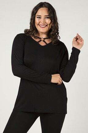 Womenice Büyük Beden Siyah V Yaka Önü Halkalı Bluz