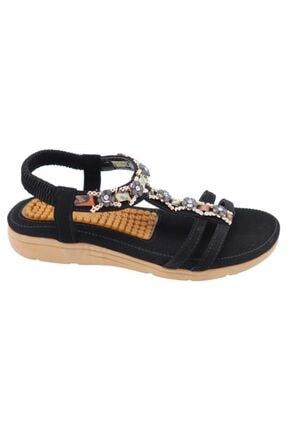 Guja 20y231-8 Siyah Kadın Yastık Taban Kolay Giyim Sandalet