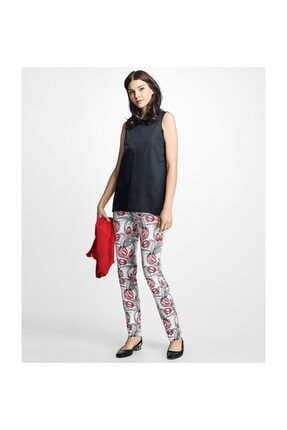 Brooks Brothers Kadın Kırmızı Lale Desenli Pantolon