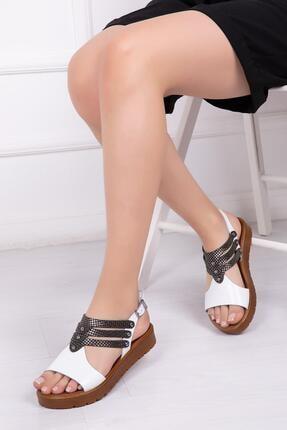 Deripabuc Hakiki Deri Beyaz X3 Kadın Deri Sandalet Dp-0095