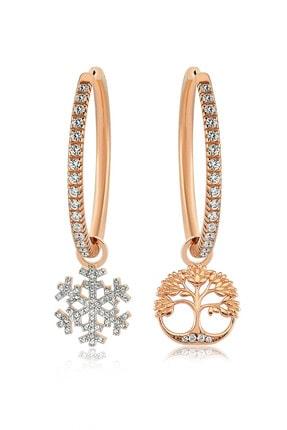 Valori Jewels Kar Tanesi Ve Hayat Ağacı, Swarovski Zirkon Taşlı, Rose Gümüş Büyük Boy Halka Charm Küpe