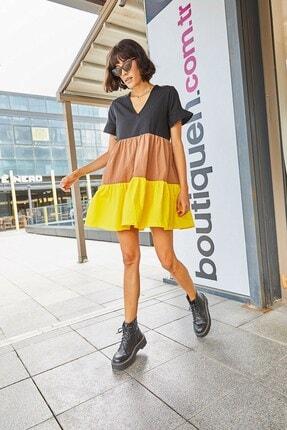 Boutiquen 2229-v Yaka Sarı Blok Renk Elbise
