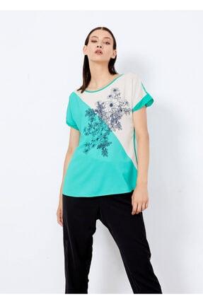 Cazador Kadın Yeşil Baskılı Kısa Kol Bluz