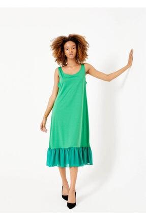 Cazador Kadın Yeşil Bisiklet Yaka Etek Fırfır Elbise