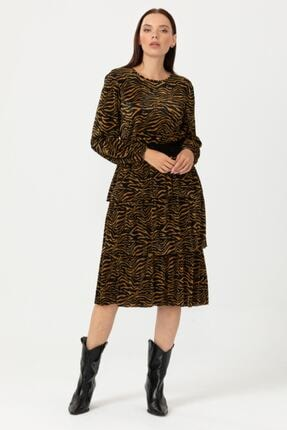 Seçil Katlı Desenli Elbise - 3513 Kahverengi