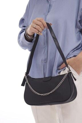 Fume London Siyah Kadın Zincir Aksesuarlı Fermuarlı Baget Çanta Fb3092